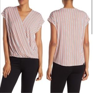 Adrianna Papell Faux Wrap Striped Surplice Top